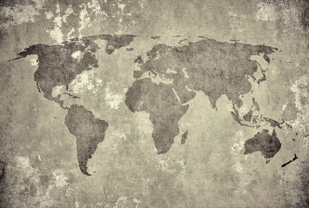 old rustic map: grunge map of the world