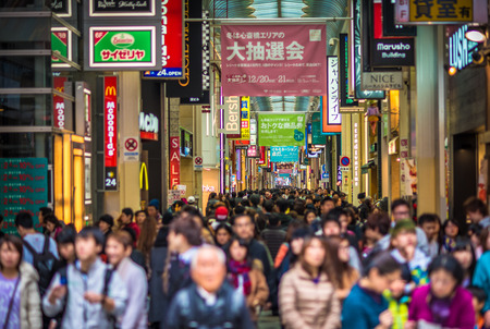 crowded street: Crowded Shinsaibashi shopping street in Osaka, Japan, Faces defocused