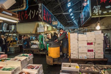 motorised: TOKIO, JAPÓN - Noviembre 22, 2014: Un hombre Taretto conducción, motorizado carrito de carga, en, el mayor mercado de pescado y mariscos en el mundo.