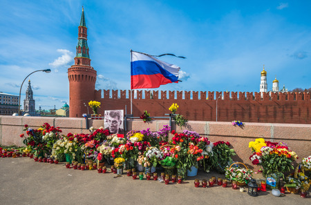 near death: MOSCOW, RUSSIA-April 13 2015: Murder place of the Russian politician Boris Nemtsov in Moscow. Nemtsov was assassinated on 27 February 2015 on a bridge 200 hundred meters from the Kremlin in Moscow.