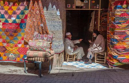 MARRAKESH, MOROCCO - April, 09, 2013: Carpet shop in Marrakesh, Morocco