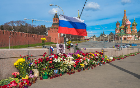 assassinated: MOSCOW, RUSSIA-April 13 2015: Murder place of the Russian politician Boris Nemtsov in Moscow. Nemtsov was assassinated on 27 February 2015 on a bridge 200 hundred meters from the Kremlin in Moscow.