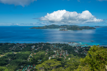 passe: Panorama of La Digue island from Nid d'Aigle viewpoint, Seychelles Stock Photo