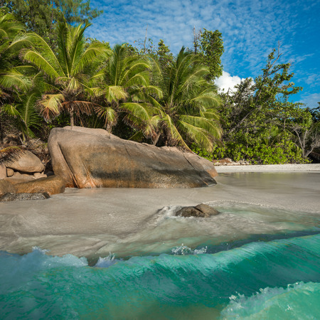 lazio: Tropical island beach Anse Lazio, Praslin, Seychelles Stock Photo
