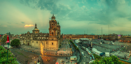 metropolitan: Zocalo square and Metropolitan cathedral of Mexico city