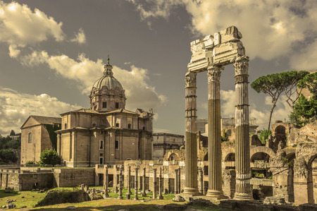forums: Retro style image of ancient roman forums in Rome, Italy