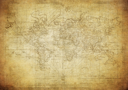 vintage map of the world 1778 写真素材