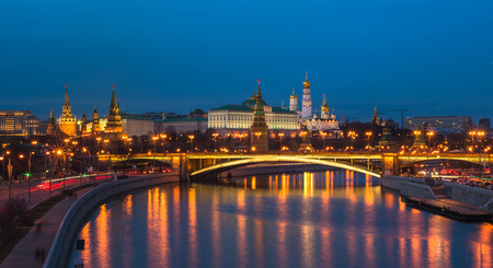 Night panoramic view of Moscow Kremlin, Russia Stock Photo
