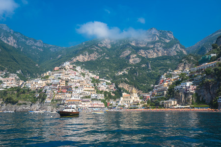 positano: Small town of Positano, Amalfi Coast, Campania, Italy