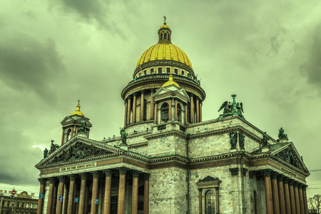 isaac s: Retro style image of Saint Isaacs Cathedral in Saint Petersburg, Russia Stock Photo