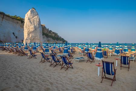 foggia: Panorama of Vieste beach, Gargano natural park, Puglia, Italy