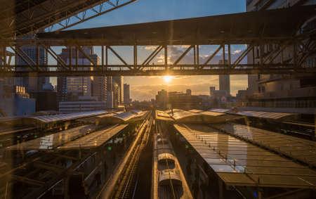 osaka: Sunset on Osaka railway station, Japan