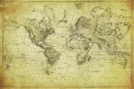 retro art: vintage kaart van de wereld 1831