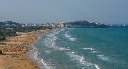 adriatic: Panorama of Vieste beach, Gargano natural park, Puglia, Italy
