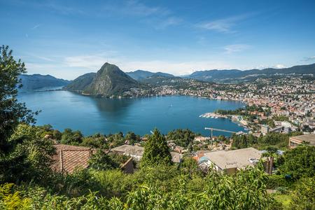 Panoramic view of Lugano, Ticino canton, Switzerland Stockfoto