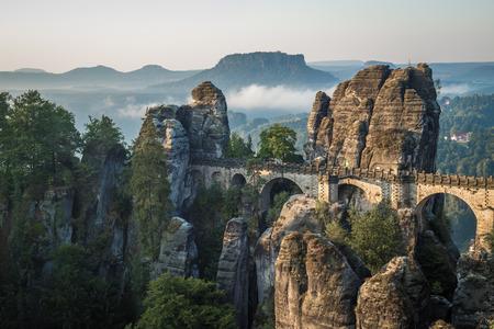 park: The Bastei bridge, Saxon Switzerland National Park, Germany Stock Photo
