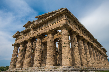 Second temple of Hera at Paestum archaeological site, one of the most well-preserved ancient Greek temples in the world, Province of Salerno, Campania, Italy Stock Photo