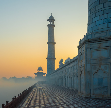 india culture: Taj Mahal at sunrise, Agra, India Stock Photo