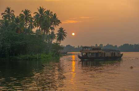 alappuzha: Backwaters of Kerala at sunrise, India