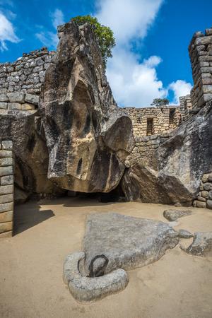 condor: Temple of the Condor, Machu Picchu, Peru Stock Photo