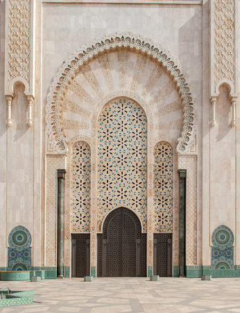 Architectural details of Hassan II Mosque, Casablanca. Morocco