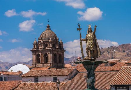 Inca Pachacutec fountain in the Plaza de Armas of Cusco, Peru Stock Photo