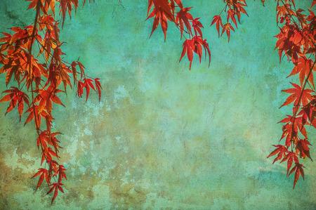 vintage border: grunge background with autumn leaves