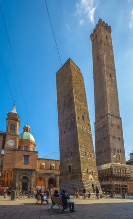 towers: The Two Towers of Bologna, Asinelli and Garisenda Stock Photo
