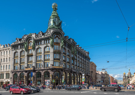 exterior house: Historic Singer Company Building, at present the House of Books on Nevsky Prospekt, St. Petersburg, Russia