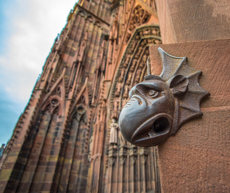 cathedrale: Sculpture of gargoyle, Cathedral of Our Lady of Strasbourg, Alsace, France