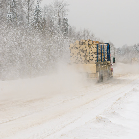 winter wood: Logging truck on winter road