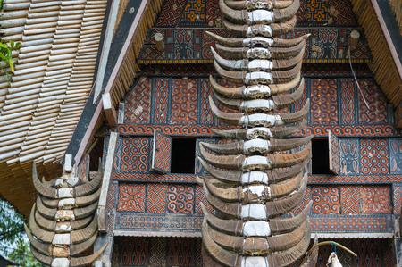 toraja: Buffalo horns at traditional houses in Tana Toraja, Sulawesi, Indonesia Stock Photo