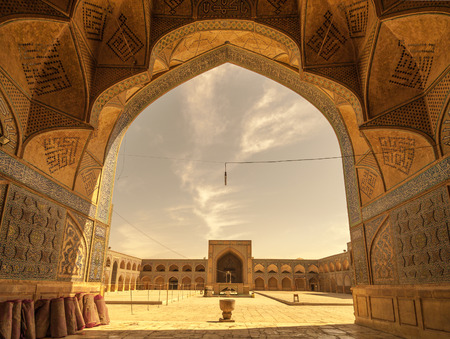 mosque: Retro style image of Jameh or Friday Mosque of Isfahan, Iran Editorial