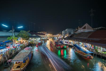 Night lights of Amphawa floating market, Thailand Stock Photo