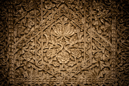 porte bois: Close-up image of ancient doors with oriental ornaments from Uzbekistan