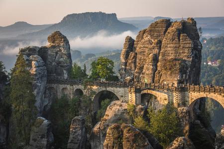 The Bastei bridge, Saxon Switzerland National Park, Germany 스톡 콘텐츠