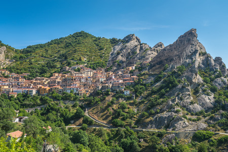 italy landscape: Castelmezzano in Basilicata, one of the most beautiful village in Italy