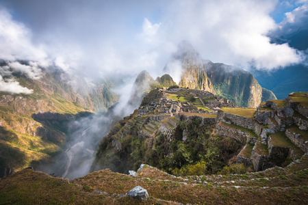 heritage site: Machu Picchu, UNESCO World Heritage Site. One of the New Seven Wonders of the World. Stock Photo
