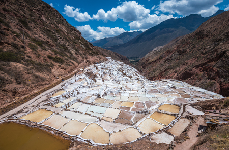 inca: Salinas de Maras, man-made salt mines near Cusco, Peru