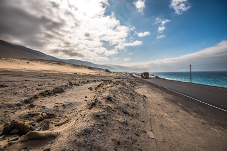 atacama: Panamericana road with Pacific ocean on the right