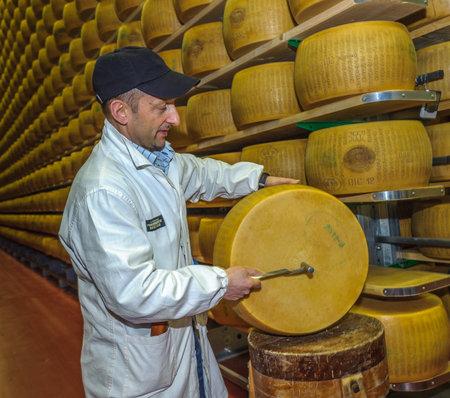 PARMA, ITALIA - marzo 10, 2014: parmigiano test di qualità del formaggio da battitore, selezionatore maestro Editoriali