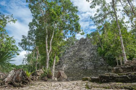 roo: La Iglesia or The Church Pyramid, Coba ruins, Quintana Roo, Mexico Stock Photo