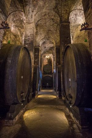 トスカーナのモンテプルチャーノ セラー内のワイン樽