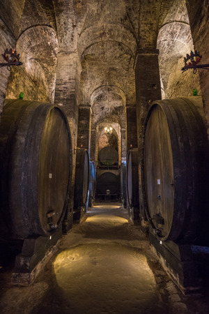 montepulciano: Wine barrels in a Montepulciano cellar, Tuscany