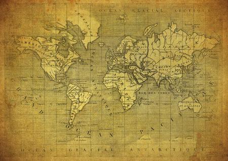 vintage map of the world published in 1847 Standard-Bild