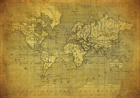published: vintage map of the world published in 1847 Stock Photo