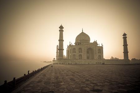 Vintage image of Taj Mahal at sunrise, Agra, India Stock Photo
