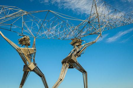 Fishermen sculpture on Onega lake embankment, Petrozavodsk, Russia