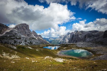 dolomite: Three peaks. National Park Tre Cime di Lavaredo. Dolomites, South Tyrol, Italy