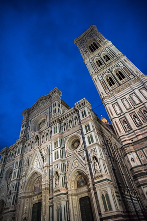 Giottos Campanile and Santa Maria del Fiore Cathedral, also called Duomo, at night, Florence, Italy Stock Photo